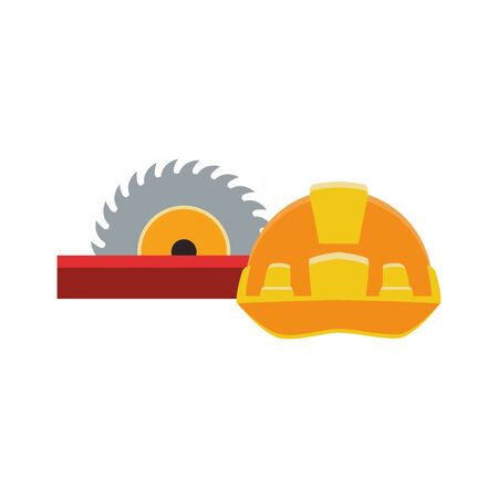 saw and safety helmet icon over white background, vector illustration