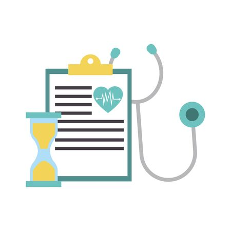 medical report, stethoscope and hourglass over white background, vector illustration