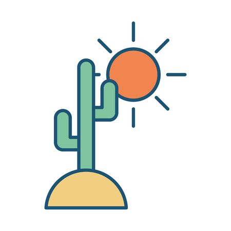 cactus plant with sun scene vector illustration design