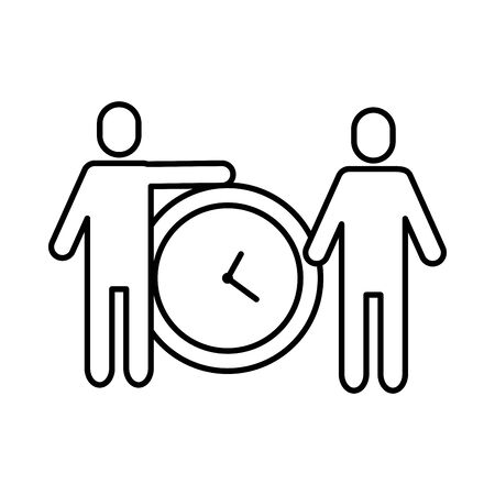 team work avatars with time clock vector illustration design