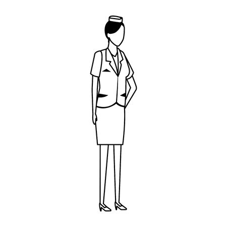 air hostess standing icon over white background, flat design, vector illustration