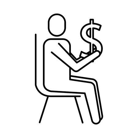 avatar businessman silhouette with money symbol vector illustration design Illustration