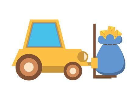 forklift vehicle service with mailbag vector illustration design