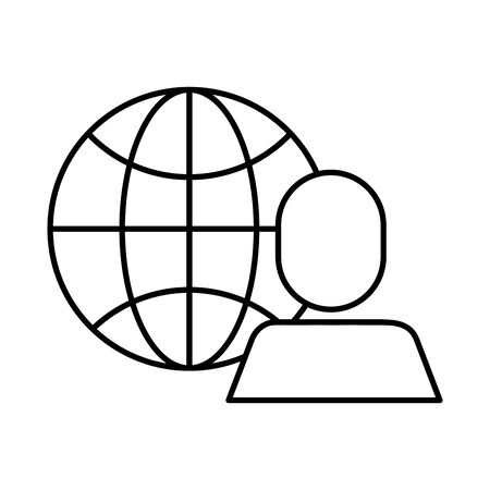 avatar businessman with sphere browser vector illustration design