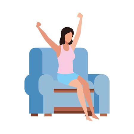 woman sitting on couch and Stretching Herself over white background, vector illustration Illustration