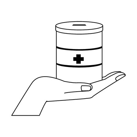 hand holding a donation tin over white background, flat design, vector illustration