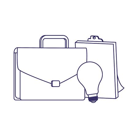 business portfolio with clipboard and bulb light over white background, flat design, vector illustration