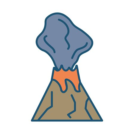 Erupting volcano scene isolated icon vector illustration design