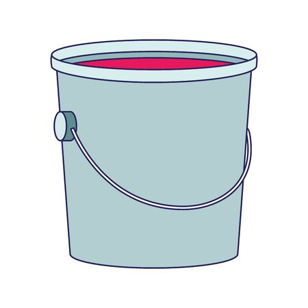 bucket of paint icon over white background, vector illustration