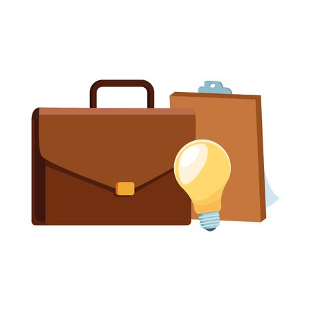 business portfolio with clipboard and bulb light over white background, vector illustration