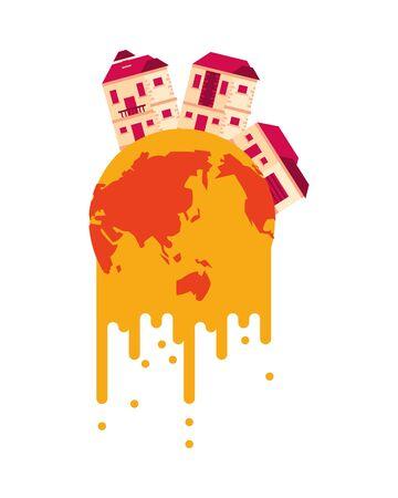 world planet melting global warming with houses vector illustration design