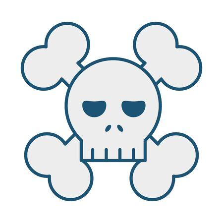 skull with bones crossed icon vector illustration design