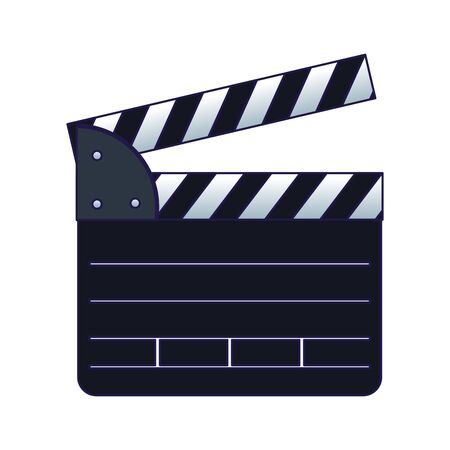 movie clapboard icon over white background, flat design, vector illustration