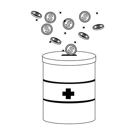 donation tin with money coins over white background, vector illustration Illustration