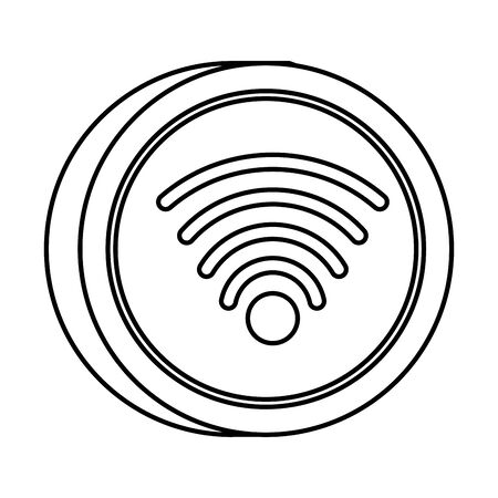 wifi connection signal button icon vector illustration design