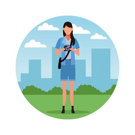 Photographer with camera profession avatar in city park scenery round icon vector illustration graphic design