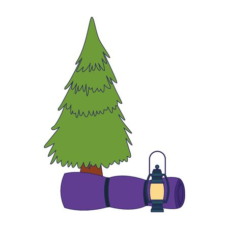 pine tree with camping lantern and sleeping bag over white background, vector illustration