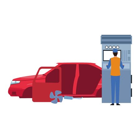 car repair service design of car body and mechanic at scanner over white background, vector illustration