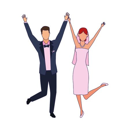 happy married couple icon over white background, vector illustration Illustration