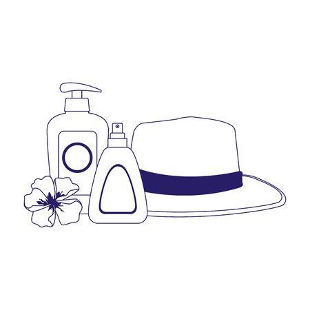 beach hat with sunscreens bottles over white background, flat design, vector illustration Illustration