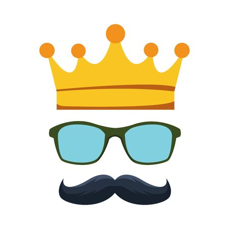crown with glasses and mustache icon over white background, vector illustration