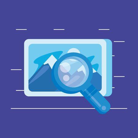 Recherche loupe avec fichier photo design illustration vectorielle