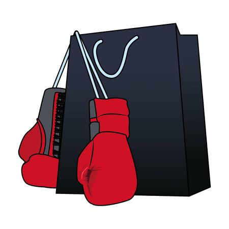 shopping bag with boxing gloves over white background, vector illustration