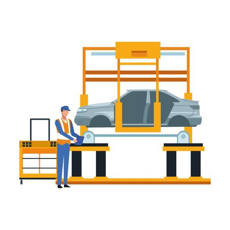 mechanic lifting a car on the machine icon over white background, vector illustration