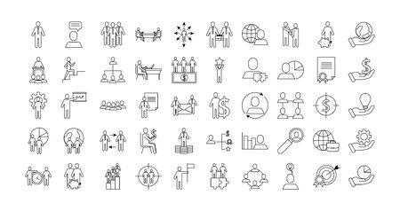bundle of business success icons vector illustration design 일러스트