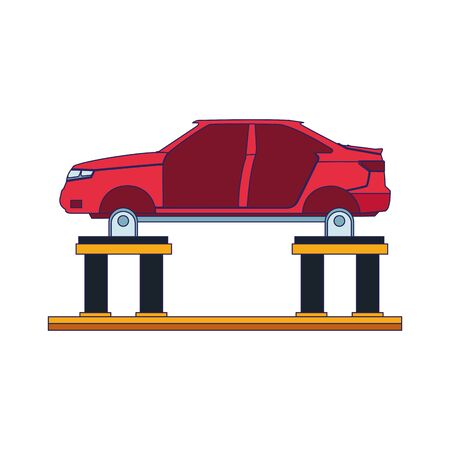 car body on car lift icon over white background, vector illustration