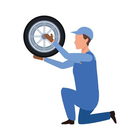 car mechanic kneeling holding a tire icon over white background, colorful design, vector illustration