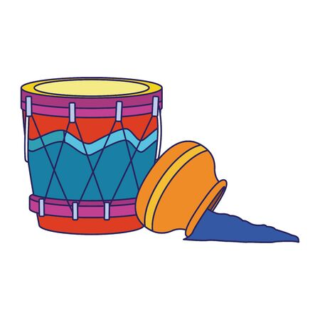 drum and holi powder over white background, vector illustration