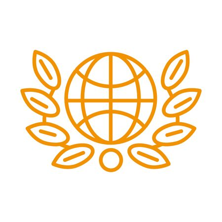 sphere planert with wreath leafs crown award victory vector illustration design Illusztráció