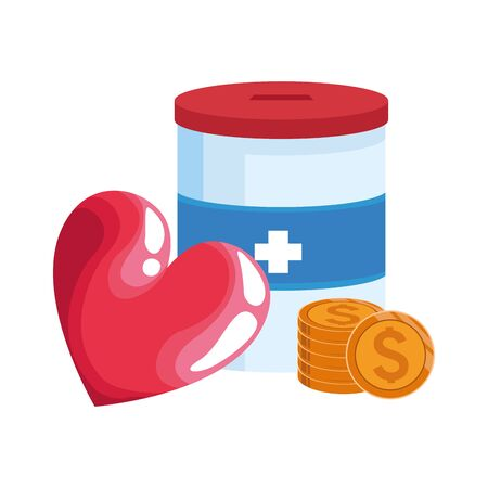 donation tin, heart and coins over white background, vector illustration Ilustrace