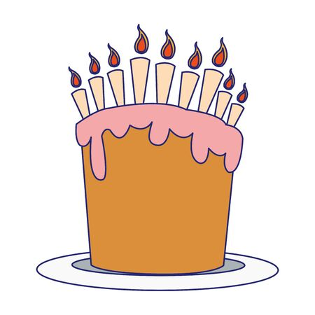 sweet birthday cake with candles icon over white background, colorful flatdesign, vector illustration