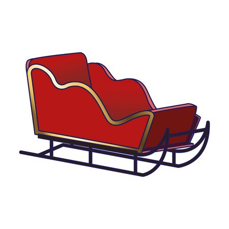 christmas sled icon over white background, colorful design, vector illustration