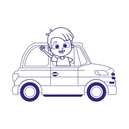 happy boy in a classic car icon over white background, flat design, vector illustration