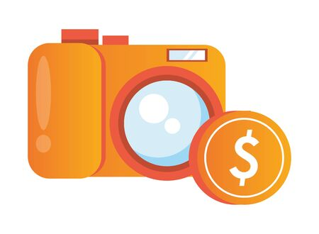 coin money dollar with camera photographic vector illustration design