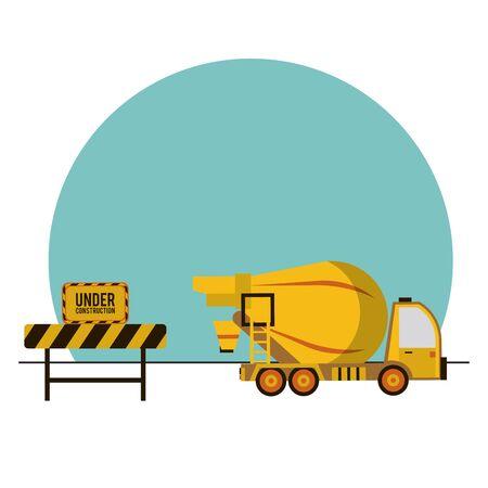 mixer truck vehicle isolated icon vector illustration design
