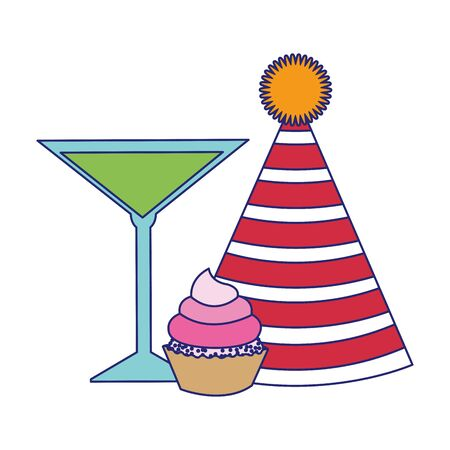 party hat with cocktail and cupcake icon over white background, vector illustration