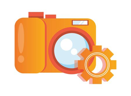 gear settings setup with camera photographic vector illustration design