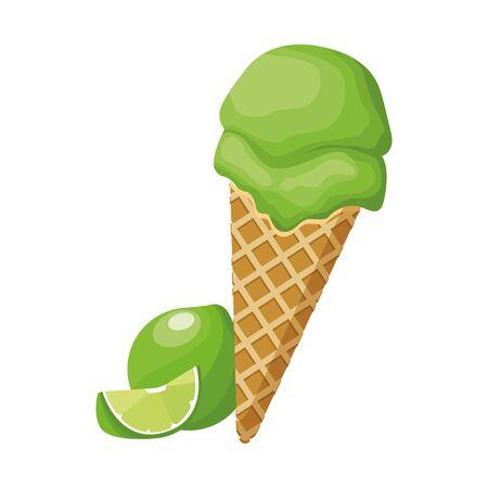 lemon ice cream cone icon over white background, vector illustration
