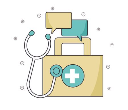 first aid kit with speech bubbles and stethoscope over white background, vector illustration