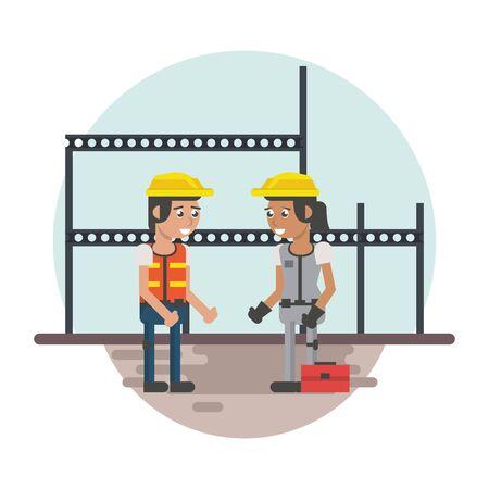 couple of builders working under construction scene vector illustration design