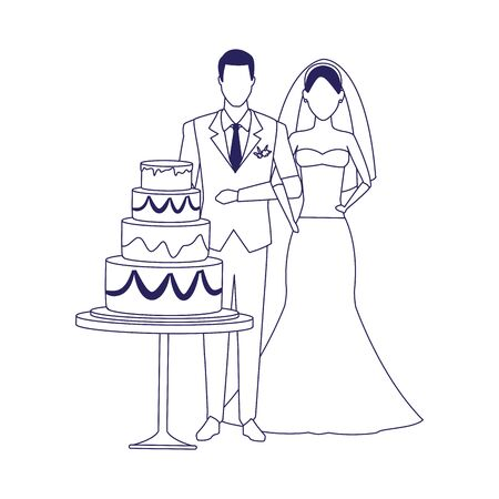 avatar groom and bride around the wedding cake over white background, flat design , vector illustration 矢量图像