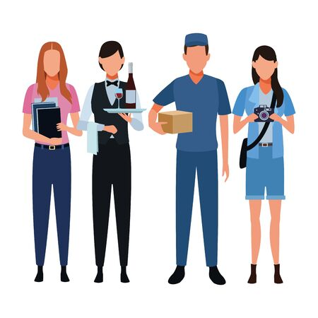 Jobs and professionals workers isolated vector illustration graphic design