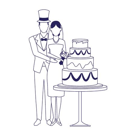 married couple standing around the wedding cake icon over white background, flat design , vector illustration 免版税图像 - 140129004