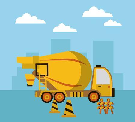 under construction scene with concrete mixer truck vector illustration design