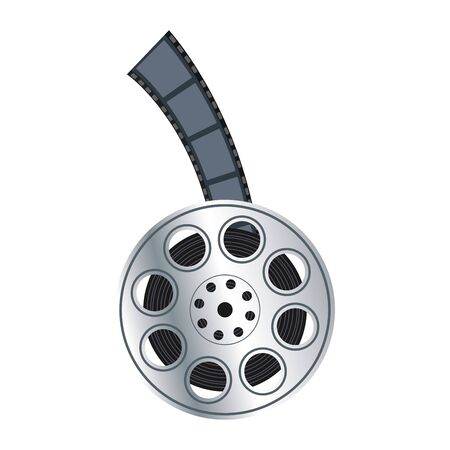 film reel tape icon over white background, flat design, vector illustration Banque d'images - 140129241