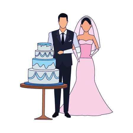 avatar groom and bride around the wedding cake over white background, flat design , vector illustration